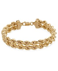 Macy's Chain Double Rope Bracelet In 14K Gold Yellow Gold