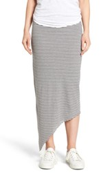 Frank And Eileen Tee Lab Women's Asymmetrical Maxi Skirt Carbon Stripe