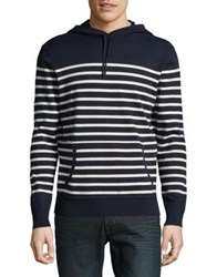 Black Brown Striped Drawstring Hoodie Autumn Navy