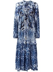 Roberto Cavalli Abstract Print Drawstring Dress Blue