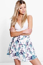Boohoo Tropical Floral Woven Skater Skirt Ivory