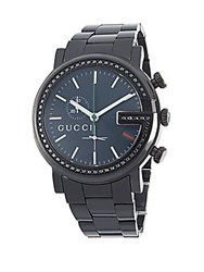 Gucci Diamond And Stainless Steel Bracelet Watch Chrome Black