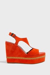 Missoni T Bar Espadrille Wedges Red