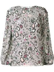Lily And Lionel Doodle Leopard Print Livia Blouse Grey