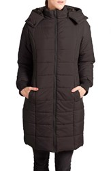 Women's Modern Eternity Quilted Puffer Convertible Maternity Coat Black