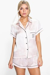 Boohoo Bride To Be Embroidered Satin Tshirt Short Set Nude
