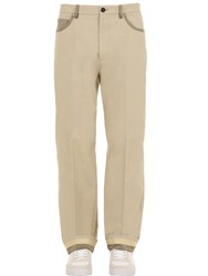 Salvatore Ferragamo Loose Cotton Blend Pants Beige