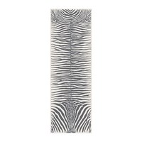 Podevache Zebra Rectangular Vinyl Floor Mat Grey White