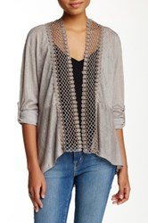 Luma Crocheted Trim Cardigan Beige