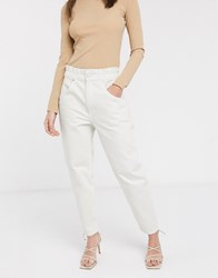 Weekday Fulton Paper Bag Waist Mom Jean In Ecru Cream