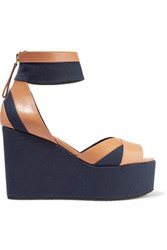 Pierre Hardy Leather Trimmed Canvas Wedge Sandals Storm Blue