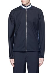 3.1 Phillip Lim Check Back Wool Combo Zip Track Jacket Blue