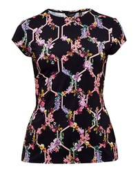 Ted Baker Dellila Lost Gardens Fitted T Shirt Black