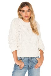 J.O.A. Long Sleeve Crew Neck Sweater White