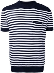 Ermanno Scervino Striped Knit T Shirt Men Cotton 50 Blue