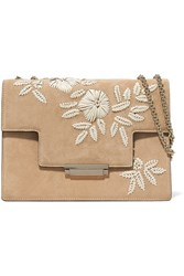 Aerin Embroidered Suede And Leather Shoulder Bag Beige