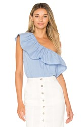 1.State One Shoulder Ruffle Top Blue
