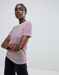 Selected Perfect Tee Stripe T Shirt Mauve Wine Purple