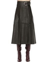 Dodo Bar Or Belted Leather Midi Skirt W Pleats Army Green