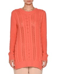 Agnona Vented Cable Knit Pullover Sweater Coral Pink