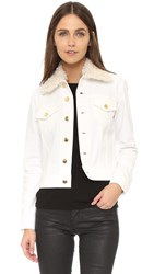 Derek Lam Denim Jacket With Shearling Collar White