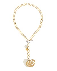Nanis 18K Yellow Gold Heart Pendant Toggle Necklace W Diamonds
