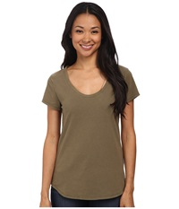 Dylan By True Grit Luxe Suede Knit Short Sleeve V Tee Cargo Women's T Shirt Taupe