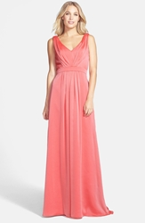 Jim Hjelm Occasions 'Luminescent' Pleated Chiffon Gown Coral Melon