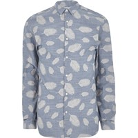 Jack And Jones River Island Mens Navy Premium Leaf Print Shirt