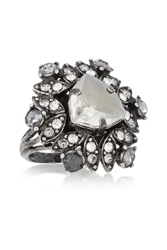 Lanvin Iconic Gunmetal Tone Crystal Ring