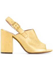 L'autre Chose Open Toe Mules Yellow And Orange