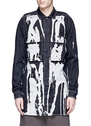 Rick Owens Bleached Cotton Denim Shirt Jacket Multi Colour
