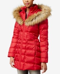 Betsey Johnson Faux Fur Trim Hooded Lace Up Puffer Coat Glam Red