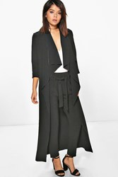 Boohoo Lara Waterfall Woven Duster Black