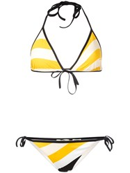 Fendi Wave Print Bikini Set Yellow Orange