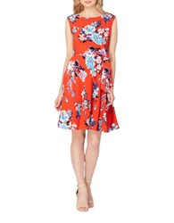 Tahari By Arthur S. Levine Boatneck Floral Fit And Flare Dress White Flame Sky