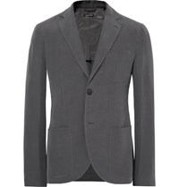 Giorgio Armani Grey Tokyo Slim Fit Slub Linen And Mulberry Silk Blend Blazer Anthracite
