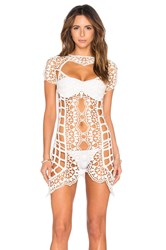 For Love And Lemons Barcelona Crochet Cover Up Ivory