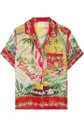 Anna Sui Florida Printed Silk Jacquard Shirt Red