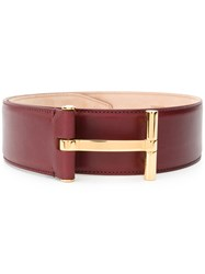 Tom Ford T Buckle Belt Women Calf Leather 75 Red