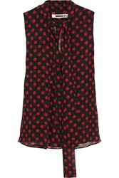 Mcq By Alexander Mcqueen Pussy Bow Polka Dot Chiffon Blouse Black Red