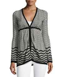 M Missoni Skinny Stripe Cardigan Black White