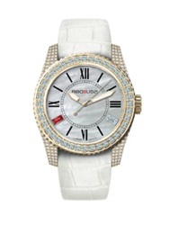 Red8usa Scandal Automatic Crystal Mother Of Pearl Goldtone Pvd And Alligator Embossed Rubber Interchange Gold White