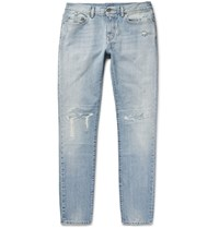 Saint Laurent Skinny Fit 16Cm Distressed Washed Denim Jeans Light Blue