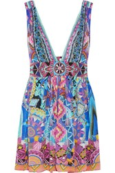 Camilla Essaouira Embellished Printed Silk Crepe De Chine Mini Dress Purple