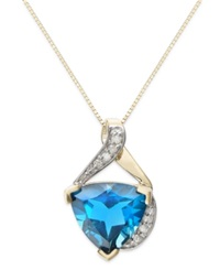 Macy's Blue Topaz 4 1 2 Ct. T.W. And Diamond Accent Pendant Necklace In 14K Gold