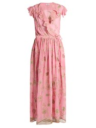 Ashish Floral Embroidered Silk Georgette Wrap Dress Pink