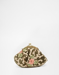Moyna Clutch In Velvet With Embroidery Detail And Vintage Style Clasp Olive