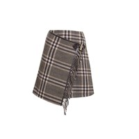 Rumour London Isla Checked Wool Blend Mini Skirt Brown