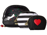 Betsey Johnson Away We Go Three Piece Cosmetic Stripe Cosmetic Case Multi